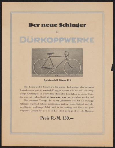 Dürkoppwerke Werbeblatt 1920er Jahre