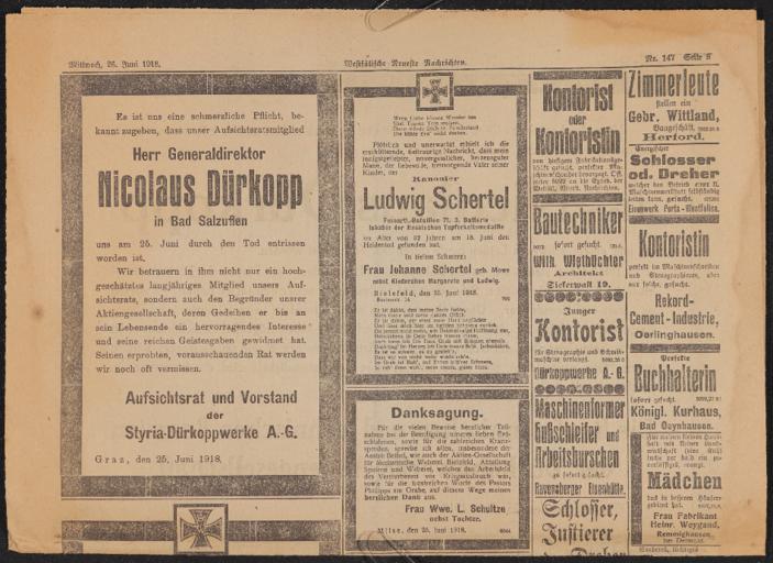 Nicolaus Dürkopp Todesanzeige 1918