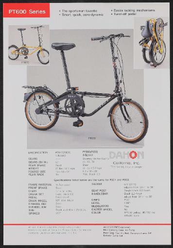 Dahon Faltrad, Dahon Inc. (USA) Werbeblätter 1990er Jahre