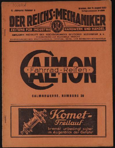 Der Reichsmechaniker Zeitung 11. August 1927