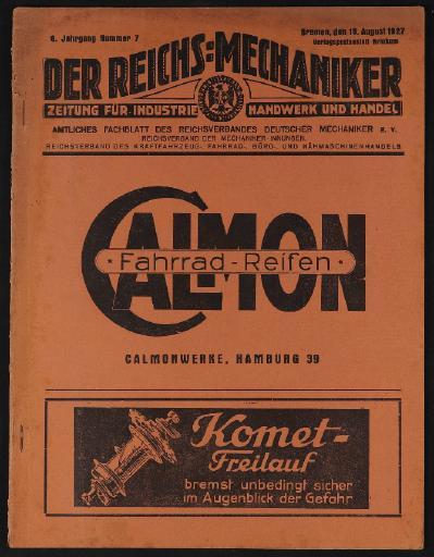 Der Reichsmechaniker Zeitung 18. August 1927
