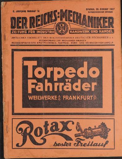 Der Reichsmechaniker Zeitung 20. Oktober 1927