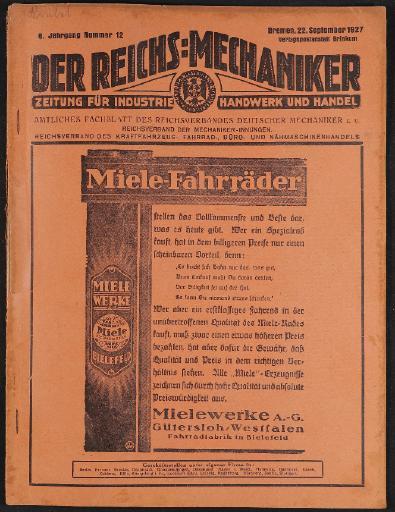Der Reichsmechaniker Zeitung 22. September 1927