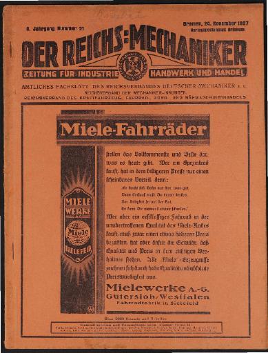 Der Reichsmechaniker Zeitung 24. November 1927