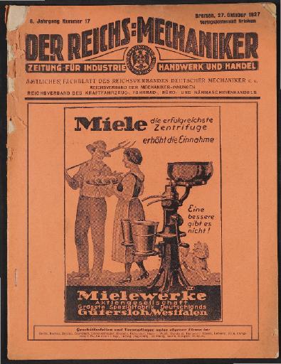 Der Reichsmechaniker Zeitung 27. Oktober 1927