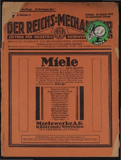 Der Reichsmechaniker Zeitung 29. August 1929