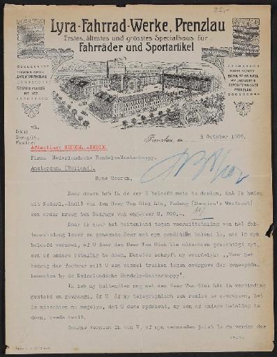 Lyra-Fahrrad-Werke, Schreiben 1909
