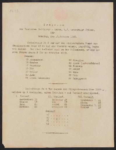 Deutsche Radfahrer- Union, Programm für Straßenrennen 1922