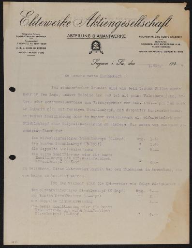 Diamant Anschreiben Preisanpassung 1927