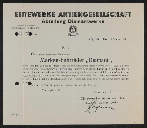 Diamant Anschreiben Preisliste 1927