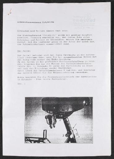 Diamant Cityblitz Gebrauchsanweisung 1992