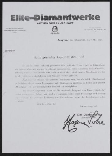 Diamant Elite-Diamantwerke AG Händlerbrief Übernahme durch Opel 1928