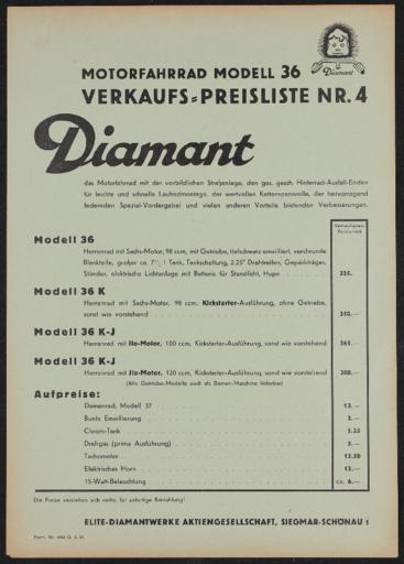 Diamant Elite-Diamantwerke AG Preisliste Motrofahrrad Modell 36 1937