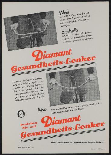 Diamant Gesundheits-Lenker Werbeblatt 1937