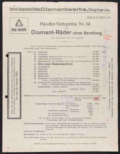 Diamant Händler-Nettopreise Nr. 14 Preisliste 1923