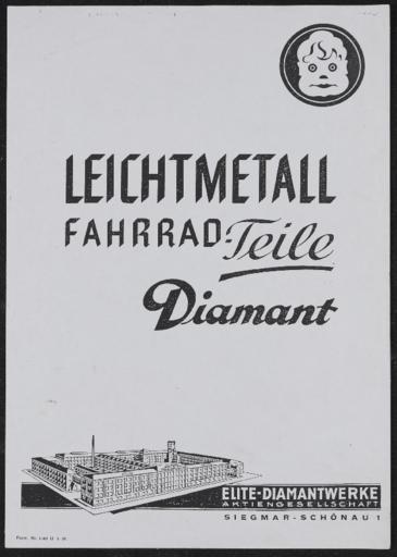 Diamant Leichtmetall Fahrrad-Teile ca. 1939