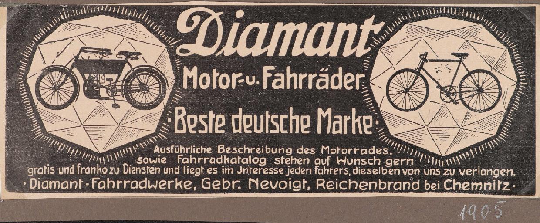 Diamant Motor- und Fahrräder Anzeige 1905