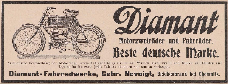 Diamant Motorzweiräder und Fahrräder Anzeige 1904