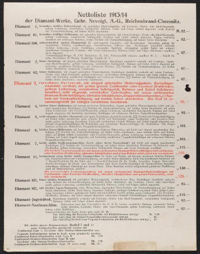Diamant Nettoliste 1913-14 Preisliste 1913
