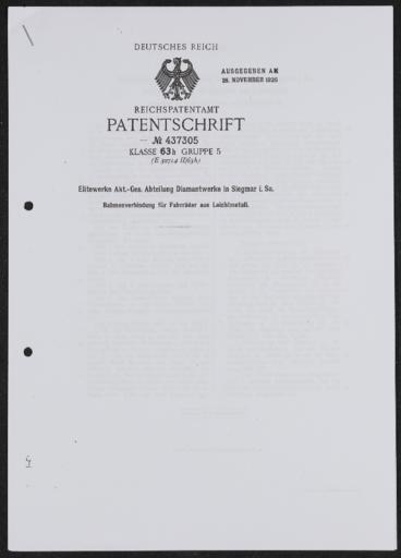 Diamant Patentschrift Rahmenverbindung Leichtmetall 1926