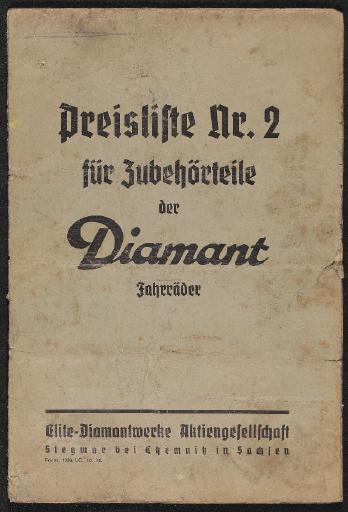 Diamant Preisliste Nr. 2 für Zubehörteile der Diamant Fahrräder Preisliste 1934