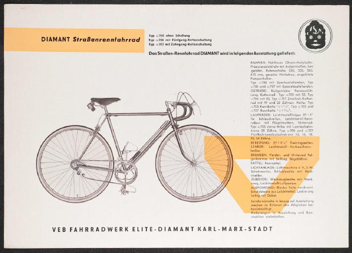 Diamant Straßenrennfahrrad Bahn-Rennfahrrad Datenblatt um 1961
