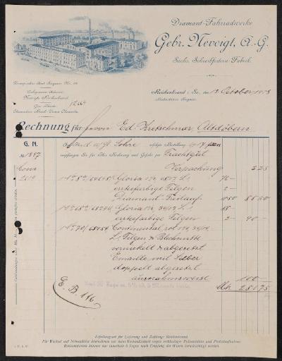 Diamant-Fahrradwerke Gebr. Nevoigt AG Rechnung 1908