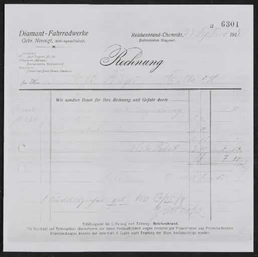 Diamant-Fahrradwerke Gebr. Nevoigt AG Rechnung 1913