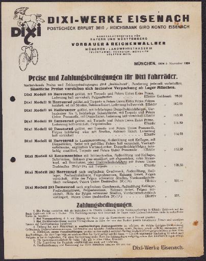 Dixi-Fahrräder Preisliste 1924