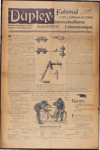 Duplex-Fahrrad Werbeblatt 1898