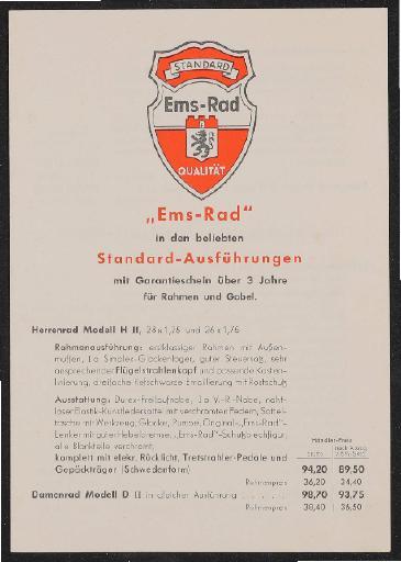 Ems-Rad Preisliste 1930er Jahre