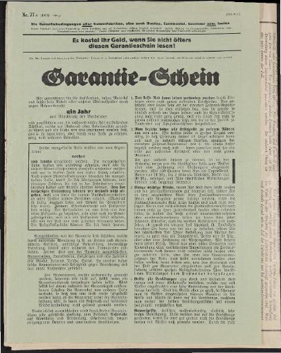 Edelweiß Garantieschein 1935