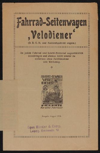 Egon Münder Fahrrad-Seitenwagen Velodiener Faltblatt 1924