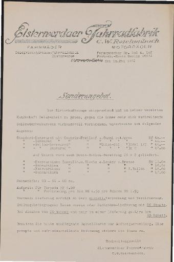 Elsterwerder  Fahrradfabrik Preisliste 1932