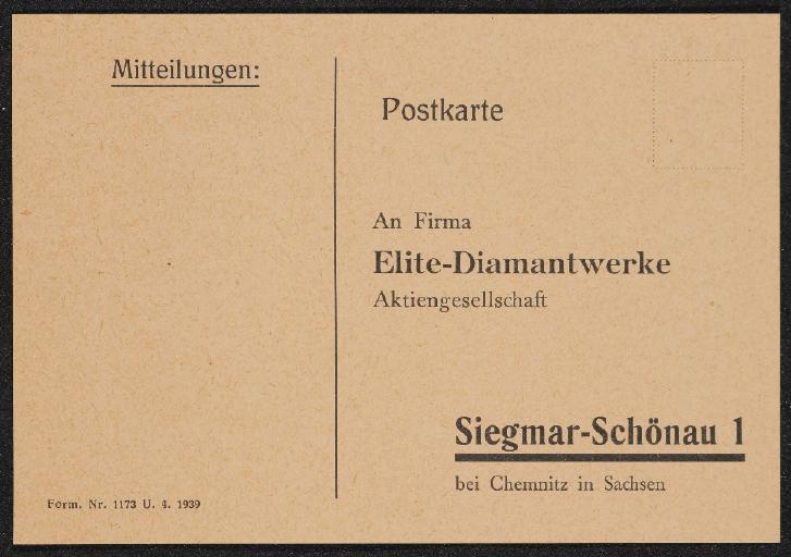 Elite-Diamantwerke Bestellkarte Postkarte 1939