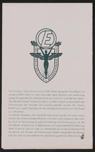 Excelsior Brandenburger Fahrrad- und Motorradwerke  Faltblatt 1930er Jahre