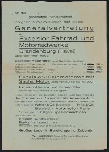 Excelsior Brandenburger Fahrrad- und Motorradwerke Händlerrundschreiben 1930er Jahre