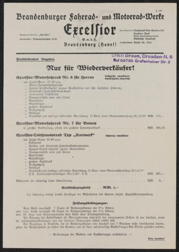 Excelsior Brandenburger Fahrrad- und Motorrradwerke  Preislisten 1937