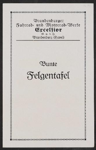 Excelsior, Bunte Felgentafel, Faltblatt 1930er Jahre