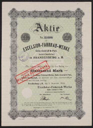 Excelsior-Fahrrad-Werke, Aktie 1922