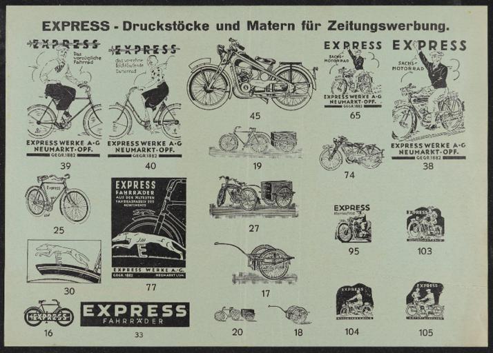 Express Fahrräder Druckstöcke 1930er Jahre