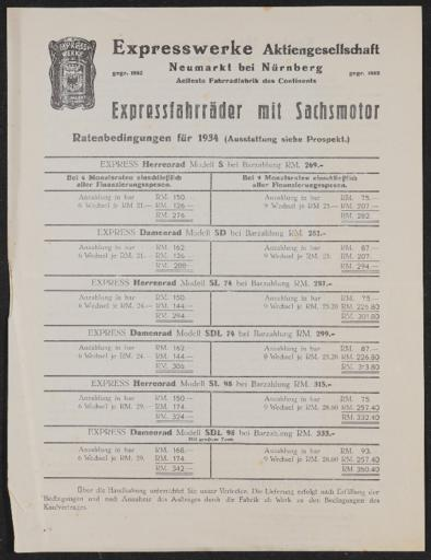 Express Fahrräder mit Sachsmotor Ratenbedingungen 1934