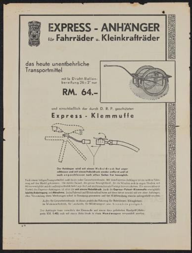Express Fahrräder und Anhänger Werbeblatt 1932