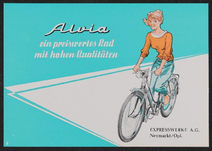 Express Fahrrad Alvia Werbeblatt 1950er Jahre
