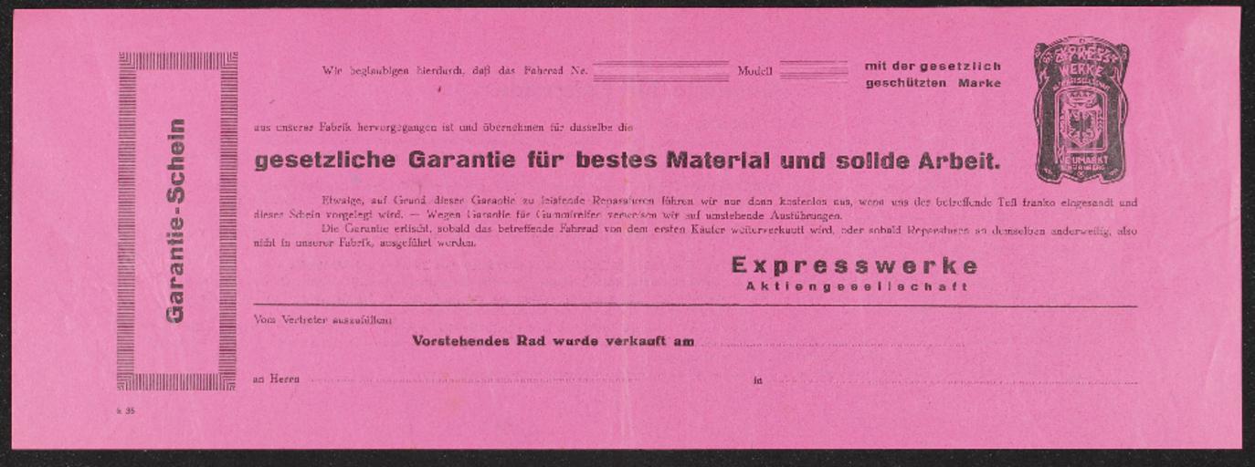 Express Fahrrad-Garantieschein 1930er Jahre