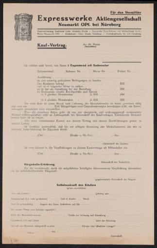 Express Kaufvertrag 1930er Jahre