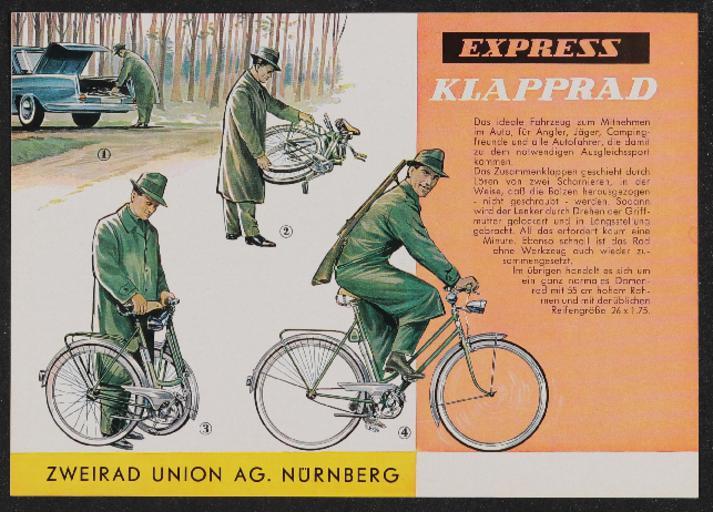 Express Klapprad Werbeblatt 1960er Jahre