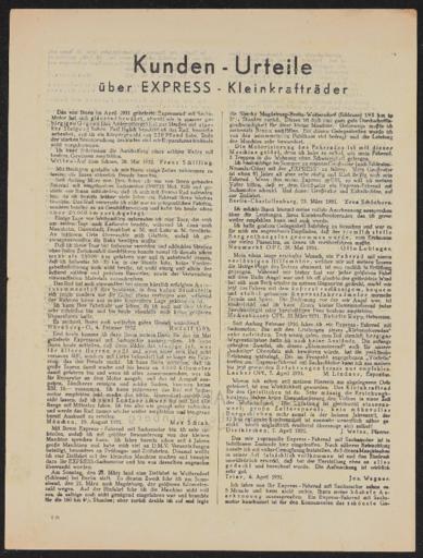 Express Kleinkrafträder Kunden-Urteile 1932