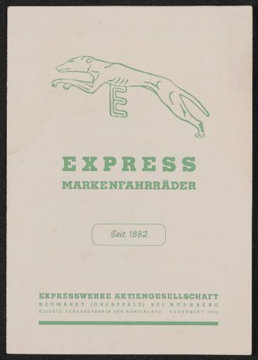 Express Markenfahrräder Faltblatt 1950er Jahre