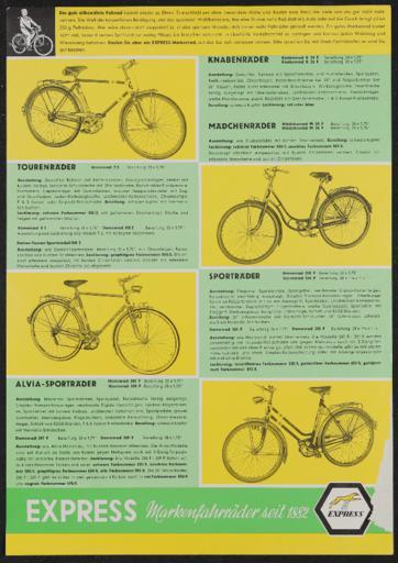 Express Markenfahrräder Werbeblatt 1965